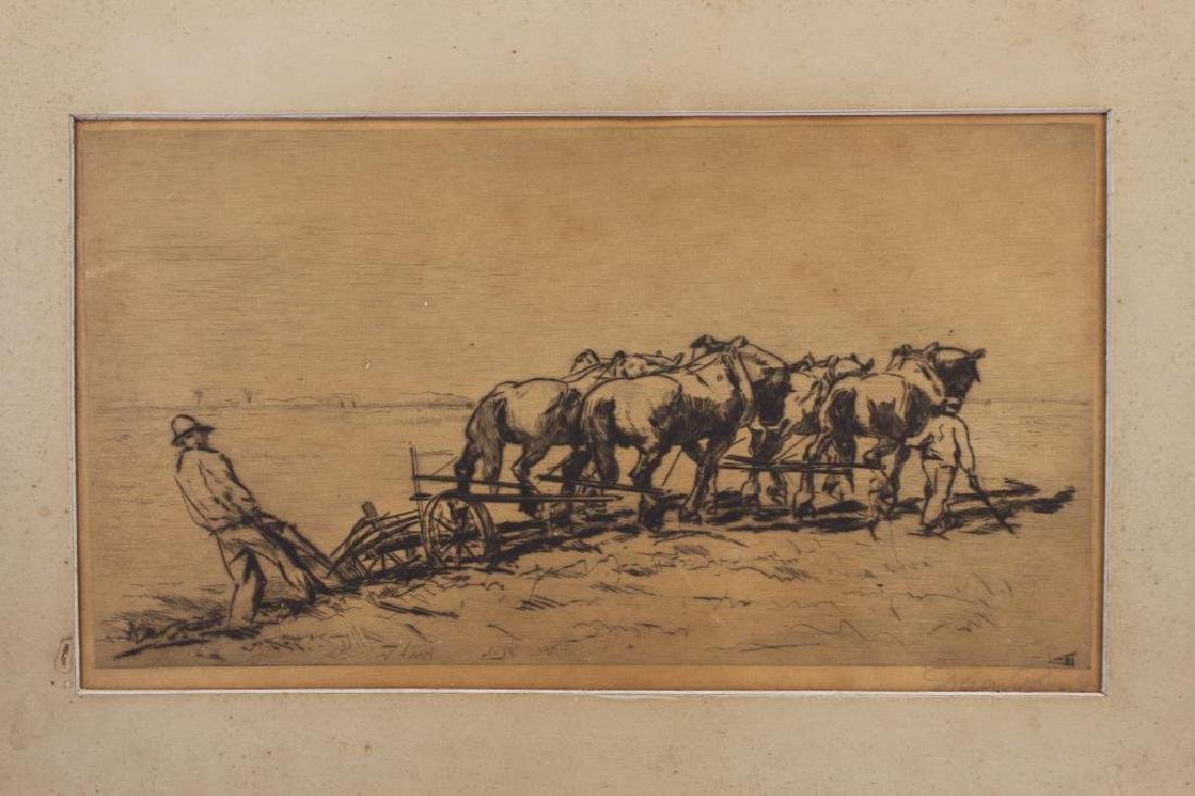 Signed, 19th C. Etching of Farmers Plowing