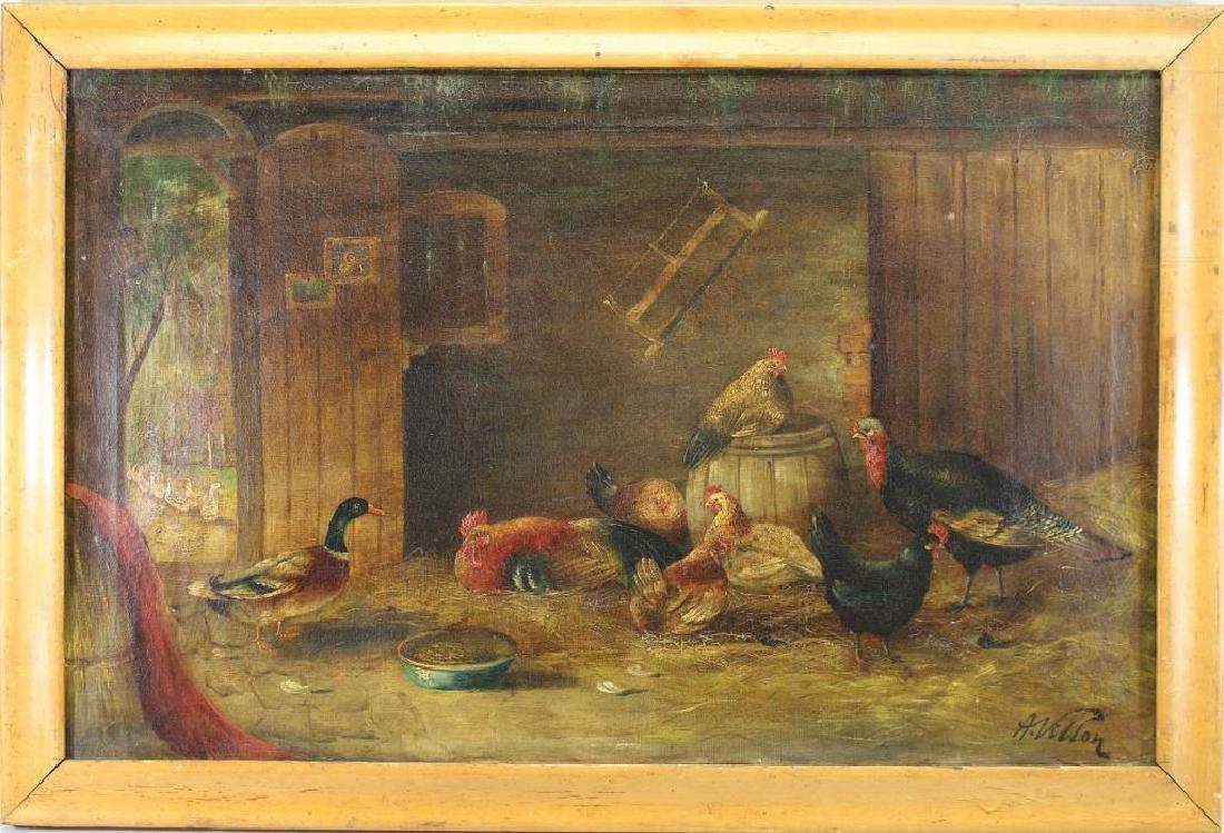 Signed Villon, Interior Barn Scene with Chickens