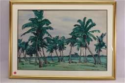 "Jane Peterson  (1876 - 1965) ""Coconut Palms, Miami"""