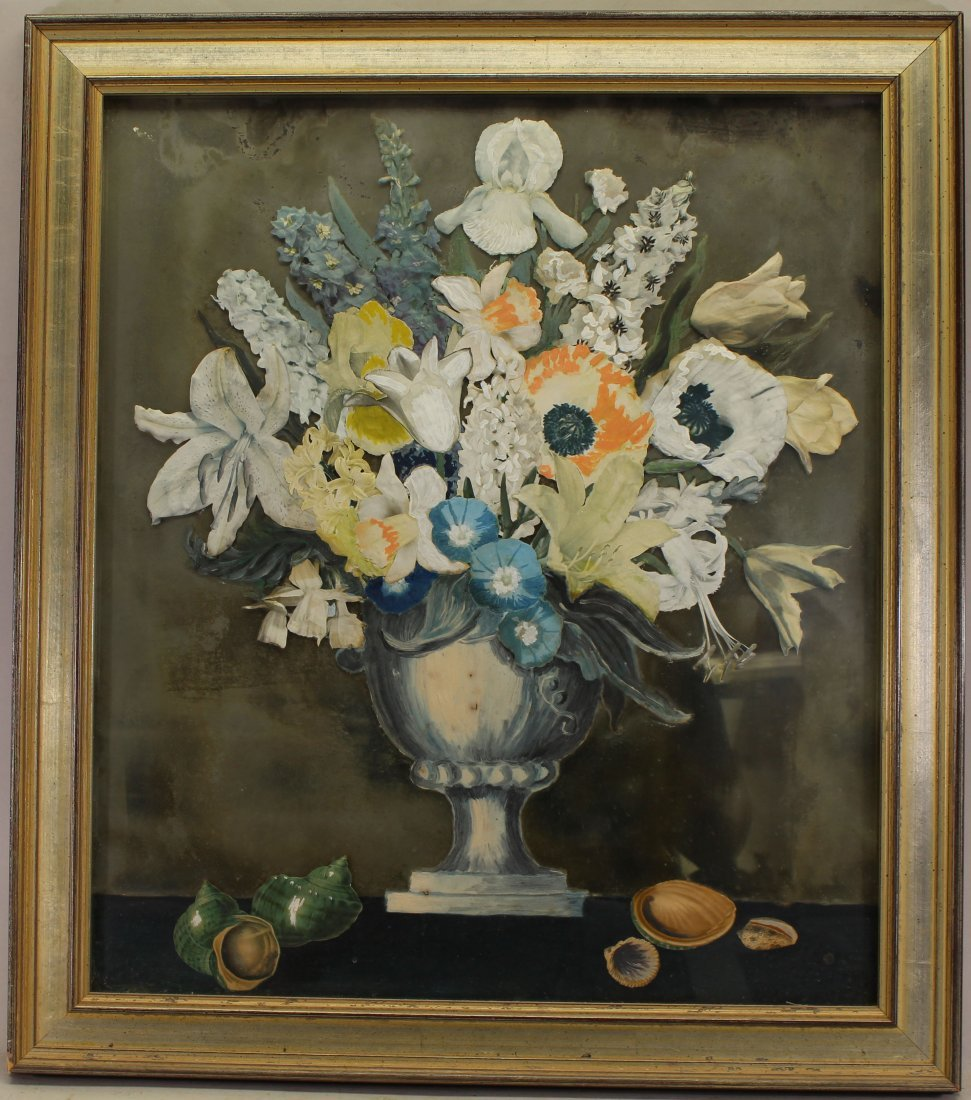 Antique Reverse Painted Floral Still Life, Framed
