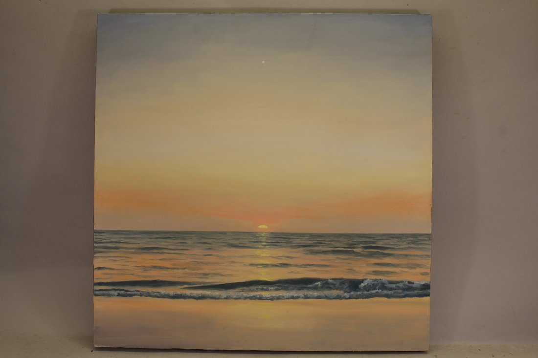 """Pastel Sunset"" '01 Signed Oil/Canvas Coastal Ptg"