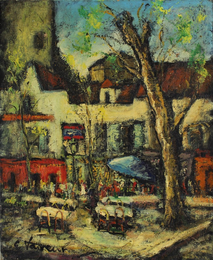 Signed, Antique Outdoor French Cafe Scene