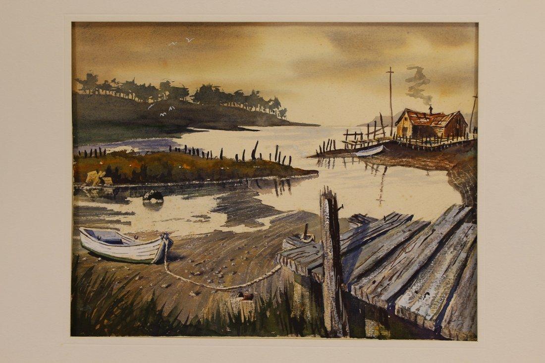 American School Watercolor of an Inlet