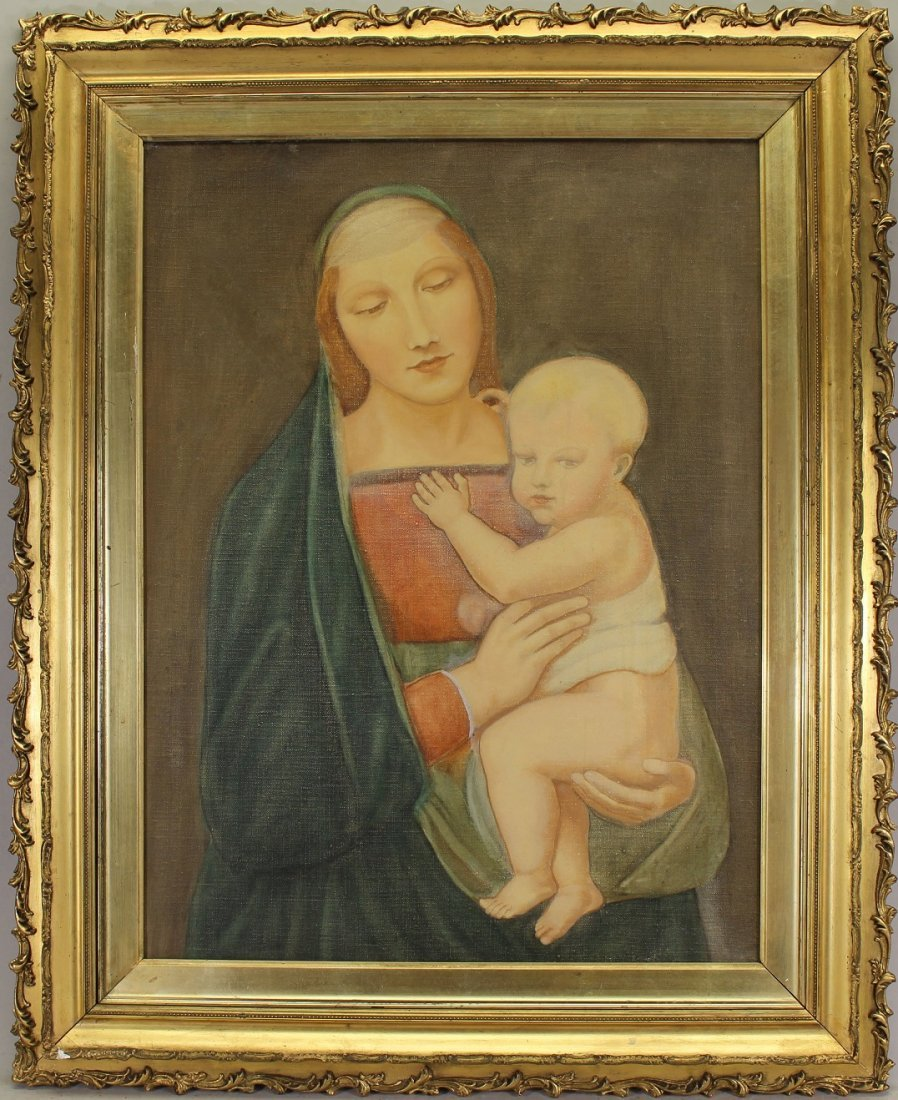 Old Master Style Painting, Madonna and Child