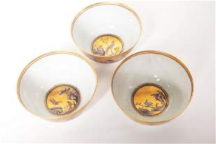 Set of Three Chinese Gilt Tea Cups
