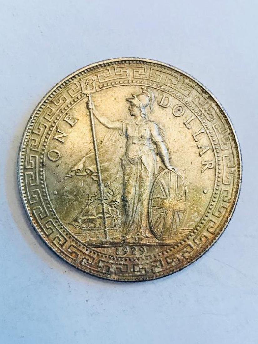 British Trade Dollar, 1929B, silver, bright