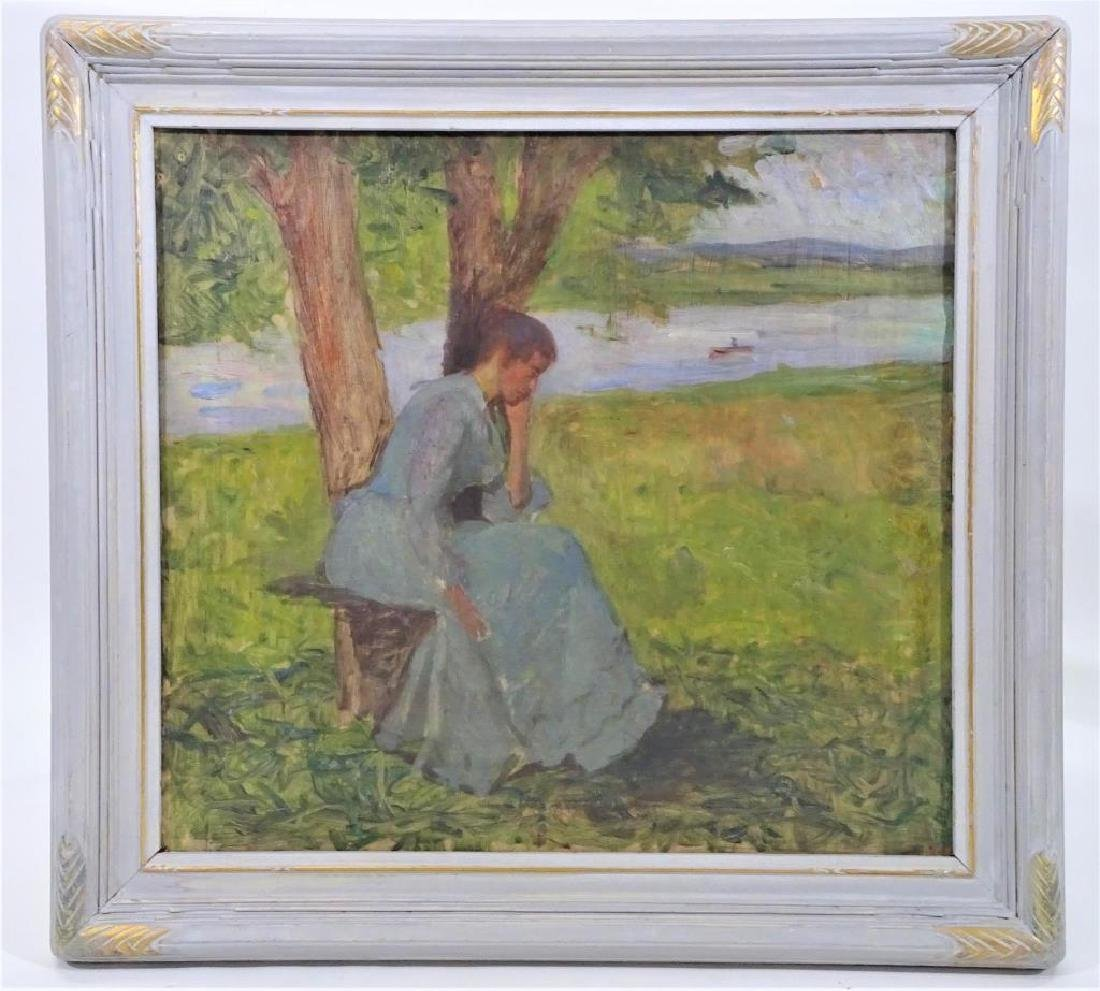 19th C Impressionist Oil Sketch, Woman by a River