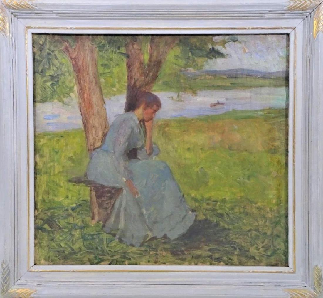 19th C Impressionist Oil Sketch, Woman by a River - 2