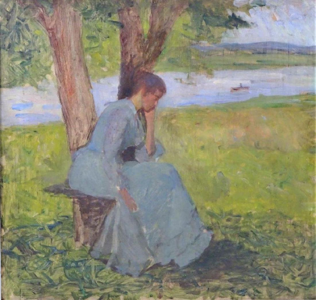 19th C Impressionist Oil Sketch, Woman by a River - 3