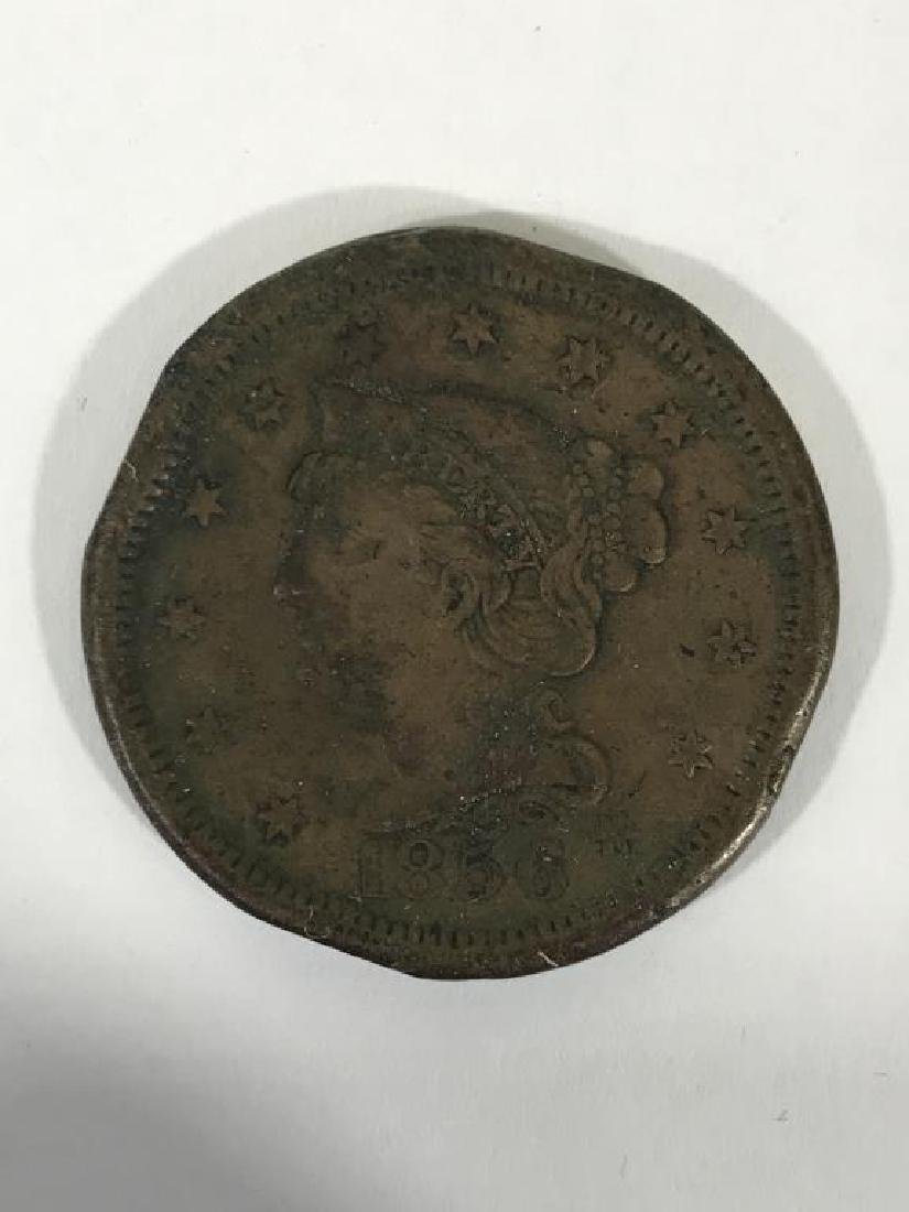1856 U.S. Large Cent Coin - 2