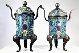 Pair of Finely Enameled Cloisonne' Covered Censers