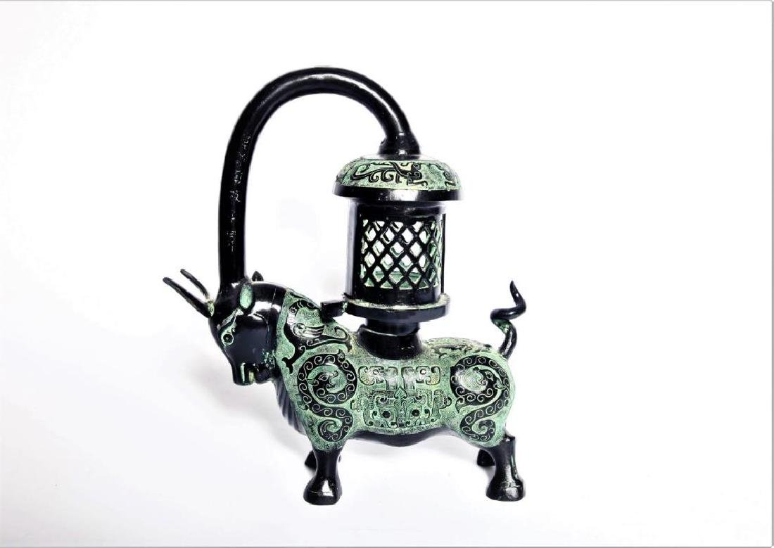 Chinese Bronze Oil Lamp Holder