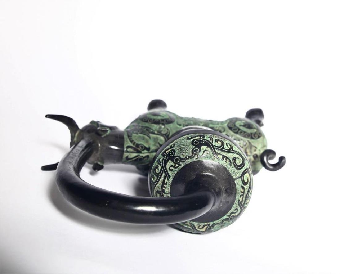 Chinese Bronze Oil Lamp Holder - 6
