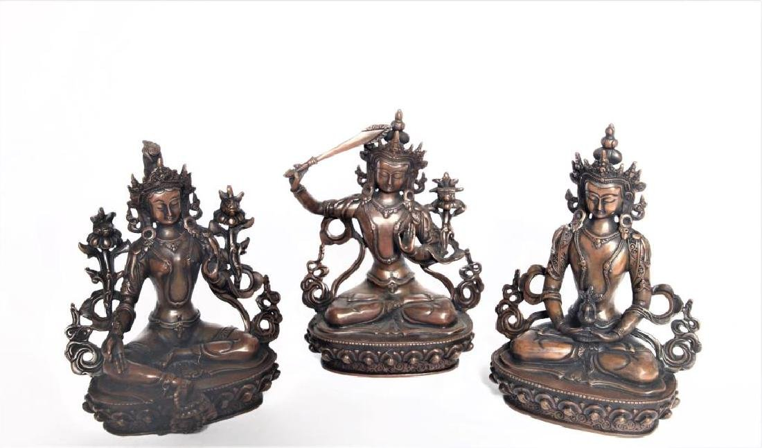 Set of 3 Asian Buddha Bronze Figures