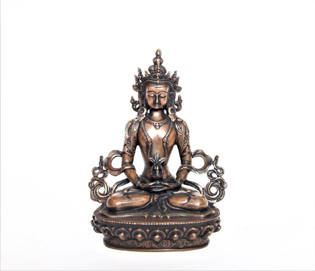 Set of 3 Asian Buddha Bronze Figures - 4