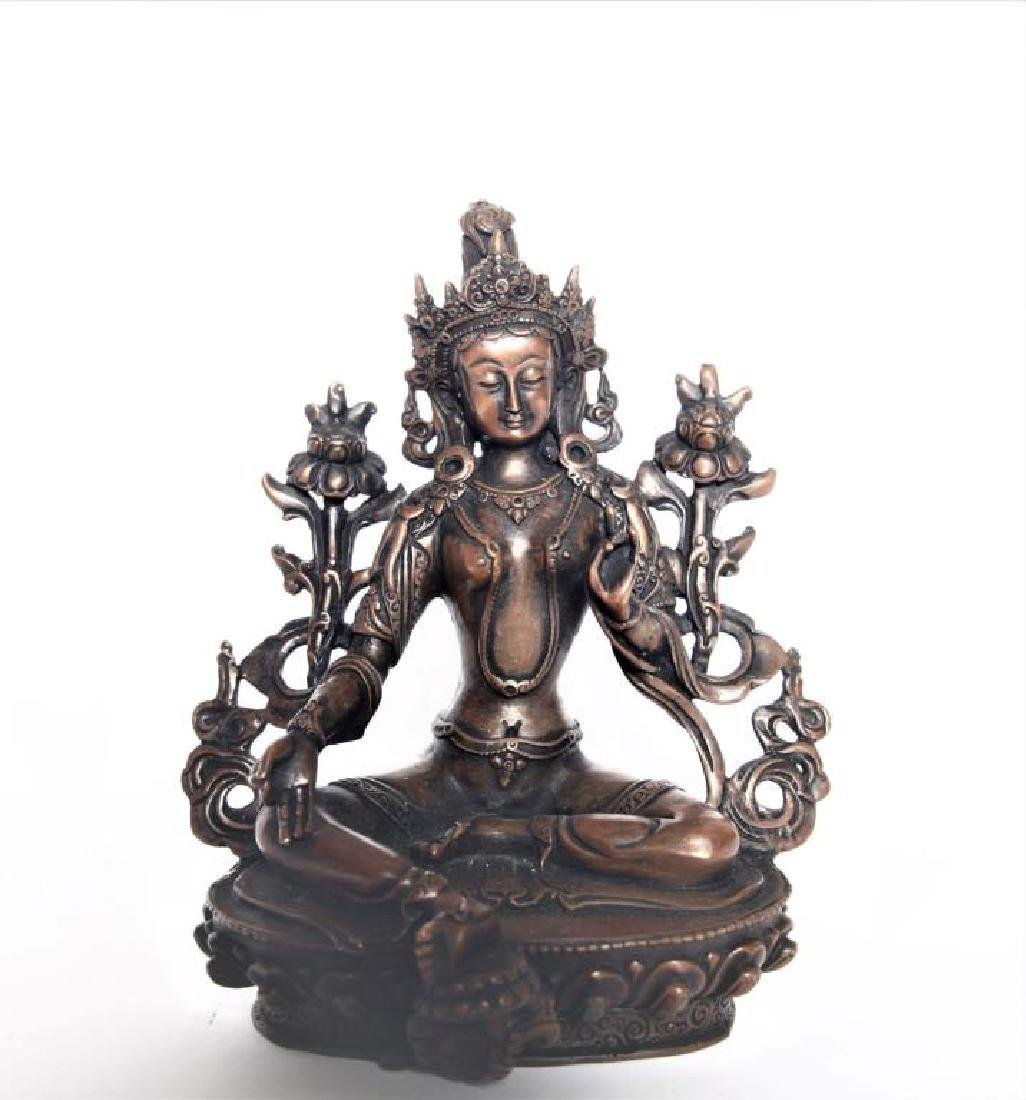 Set of 3 Asian Buddha Bronze Figures - 5