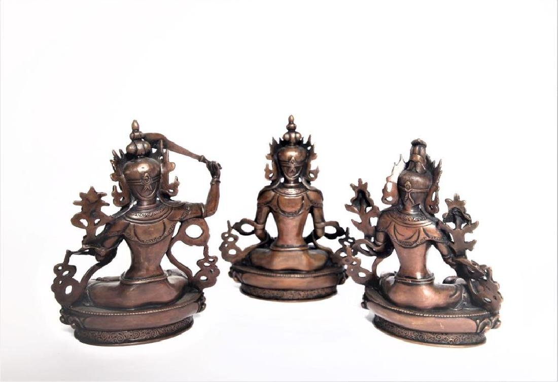 Set of 3 Asian Buddha Bronze Figures - 6