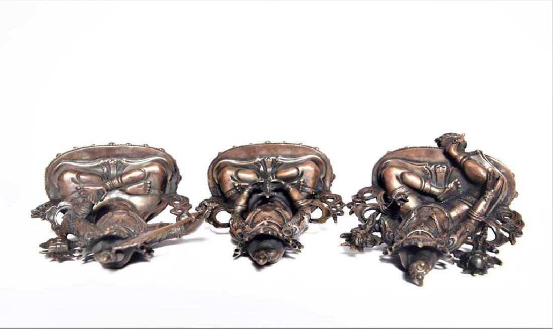 Set of 3 Asian Buddha Bronze Figures - 8