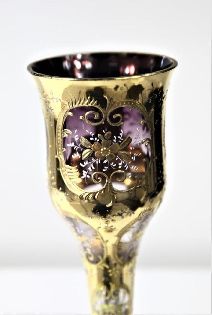 (1) Tall chalice with amethyst shading to clear - 2