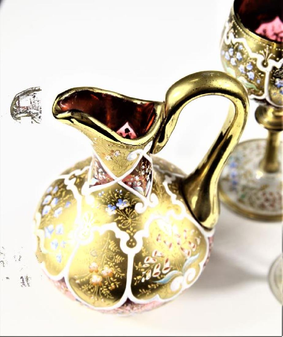 Four (4) pieces of Persian crystal, Moser-type