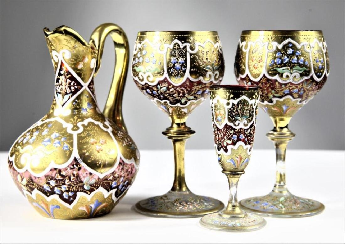 Four (4) pieces of Persian crystal, Moser-type - 3