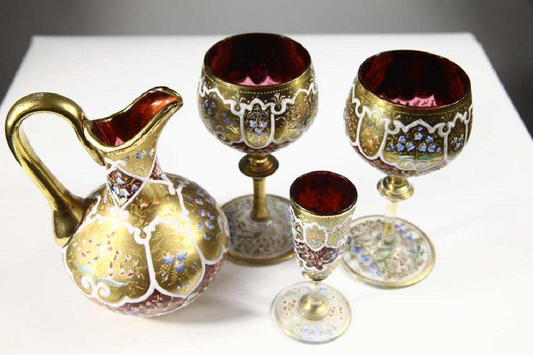 Four (4) pieces of Persian crystal, Moser-type - 5