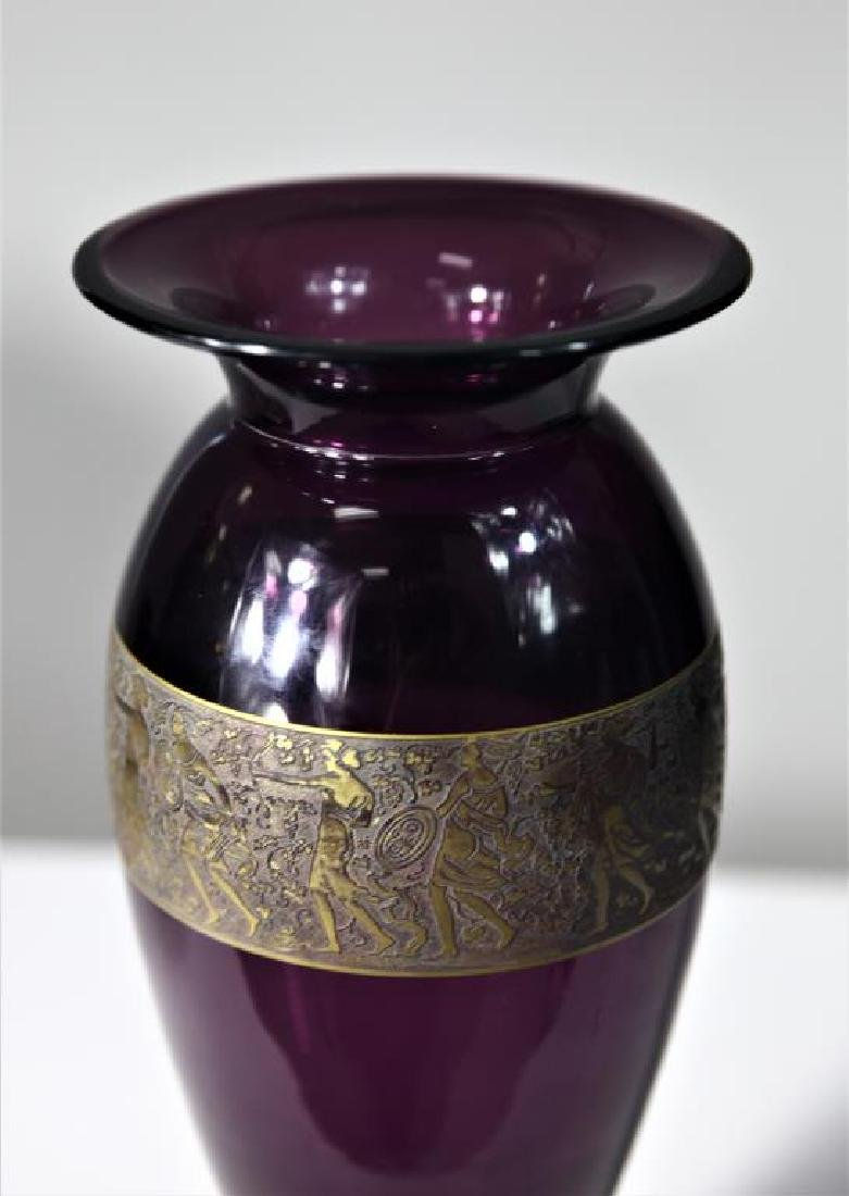 """(1)  """"Moser Karlsbad""""  amber footed vase - 2"""