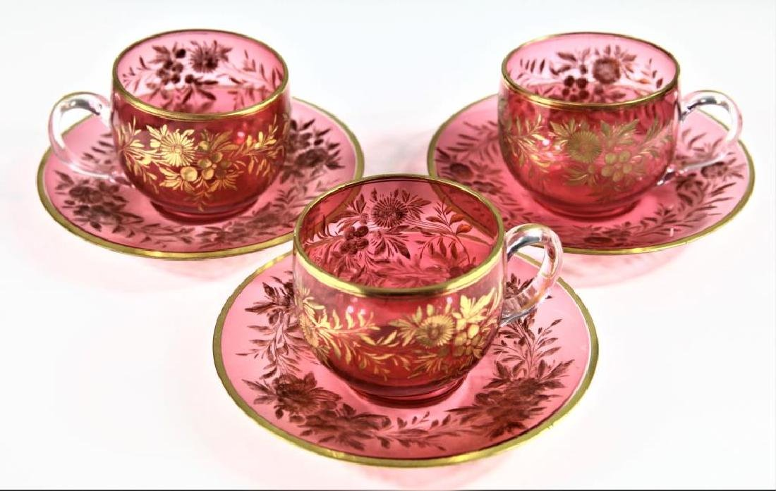 Three (3) cranberry cups and saucers, Moser-type - 2