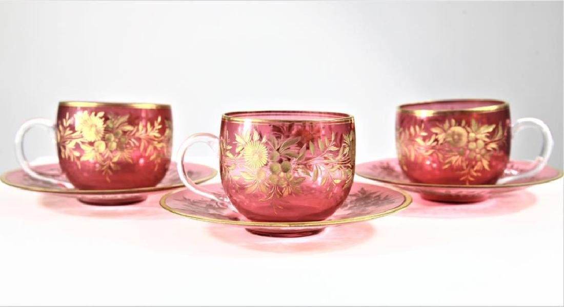 Three (3) cranberry cups and saucers, Moser-type - 3