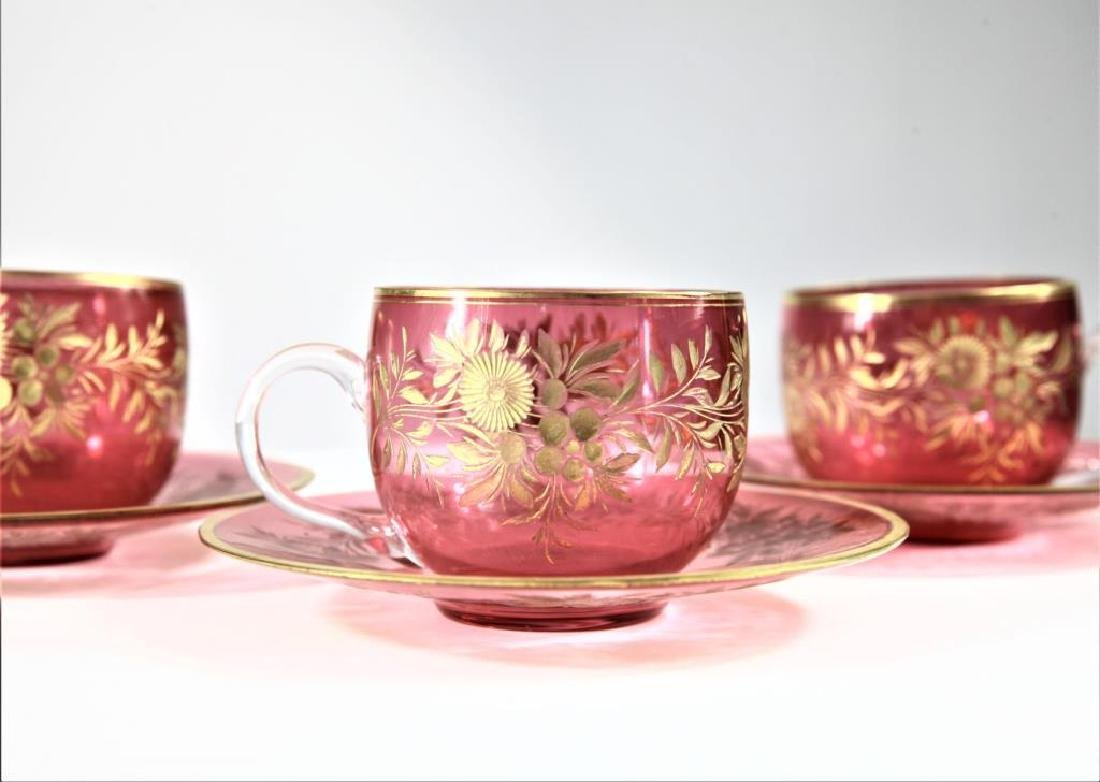 Three (3) cranberry cups and saucers, Moser-type - 4