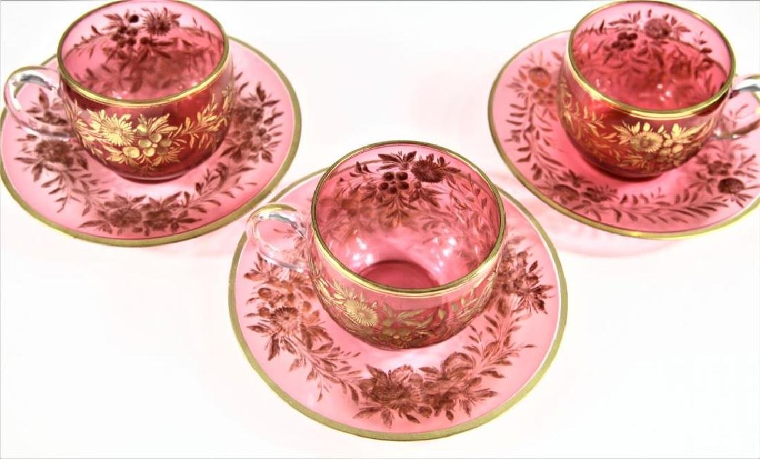 Three (3) cranberry cups and saucers, Moser-type - 5