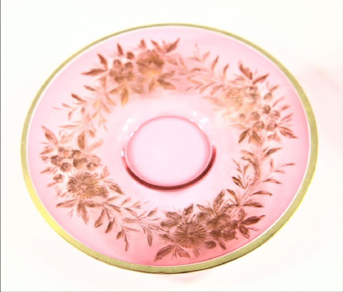 Three (3) cranberry cups and saucers, Moser-type - 7