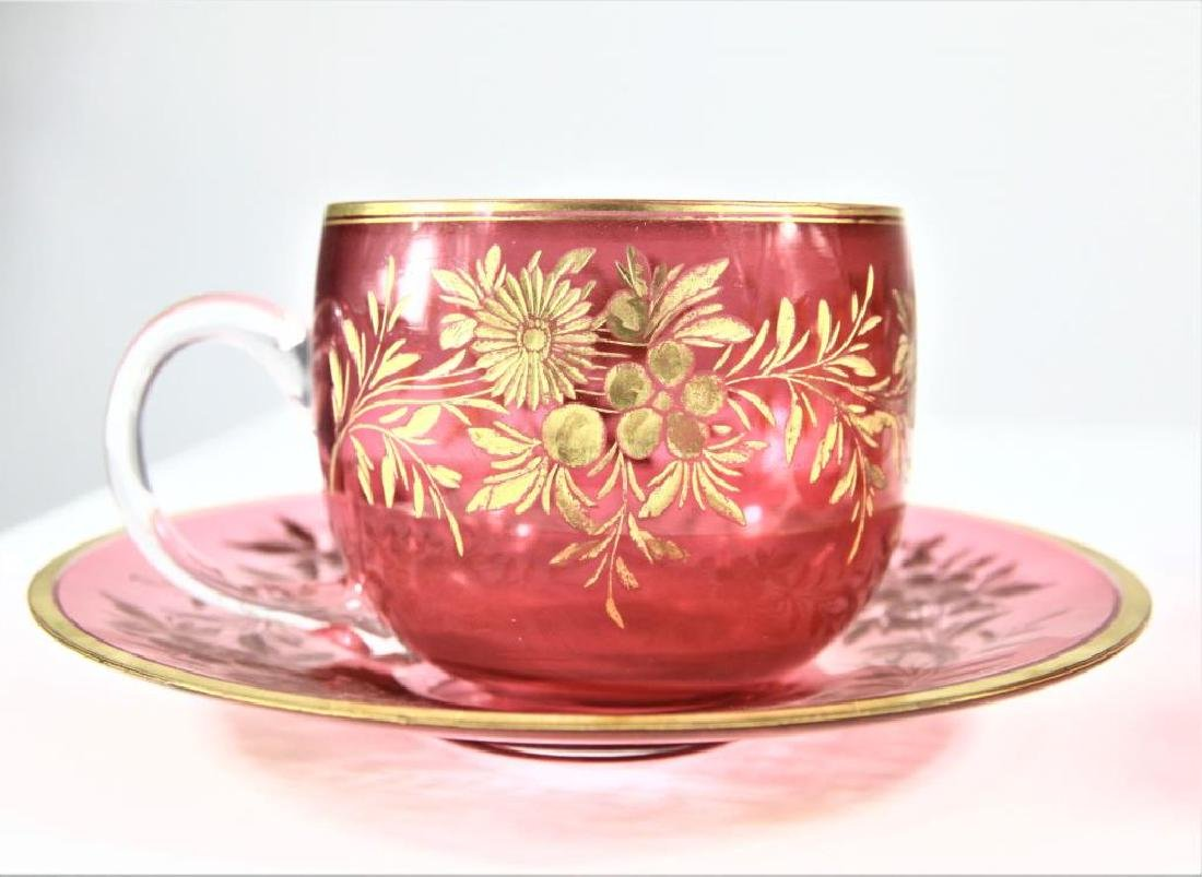 Three (3) cranberry cups and saucers, Moser-type - 8