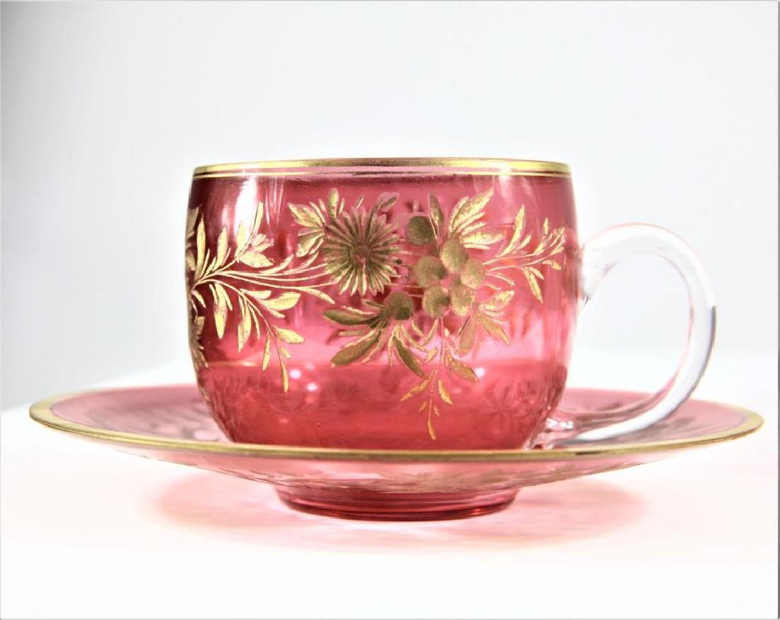 Three (3) cranberry cups and saucers, Moser-type - 9