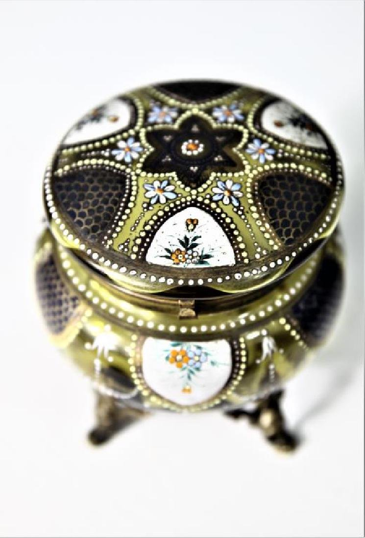 (1) Amber glass box, enameled floral decoration