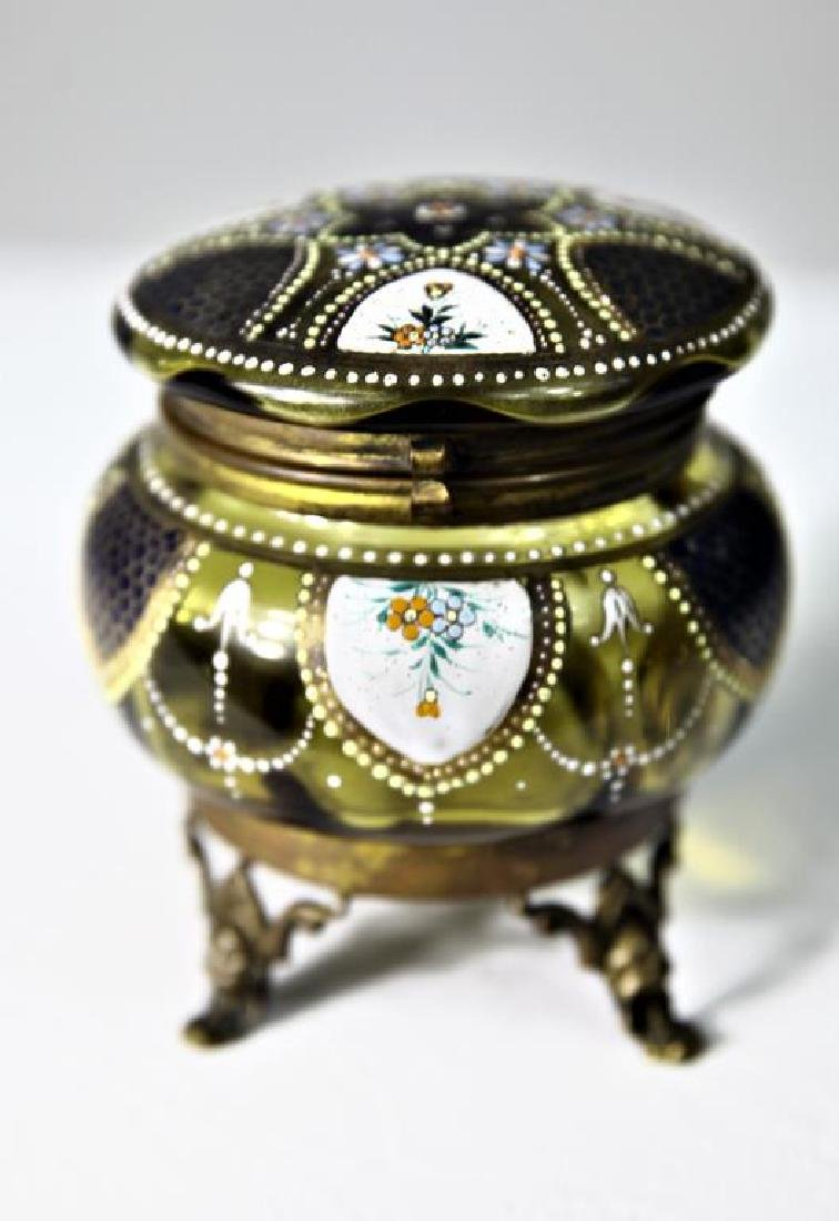 (1) Amber glass box, enameled floral decoration - 2