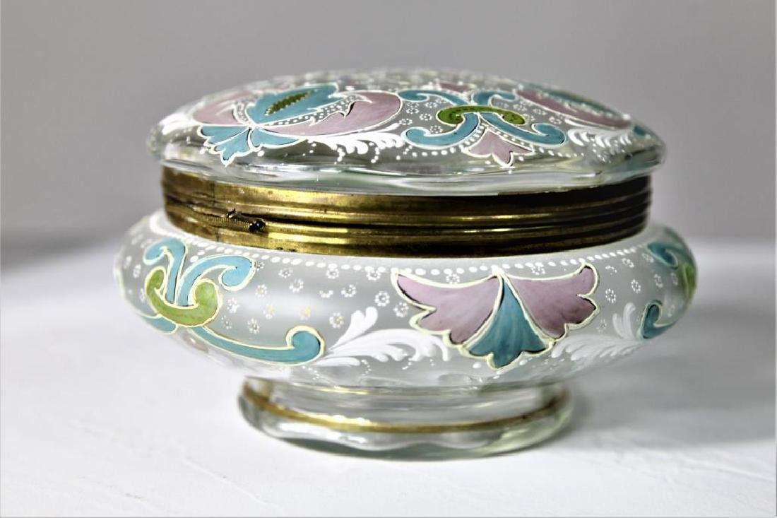 (1) Large covered box with enameled decorations