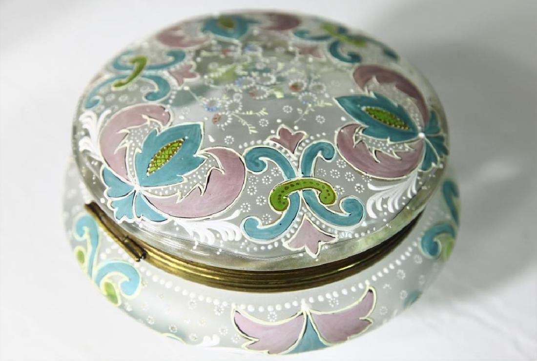 (1) Large covered box with enameled decorations - 2