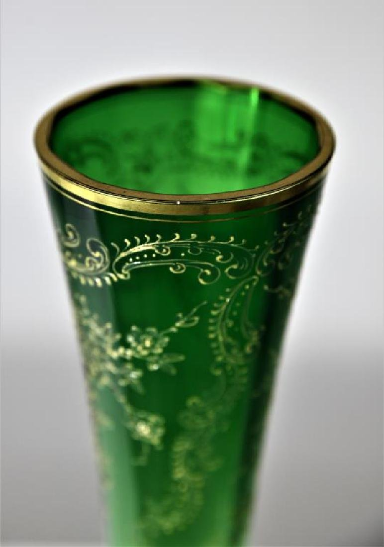 (1) Tall Austrian or Bohemian vase, green shading - 2