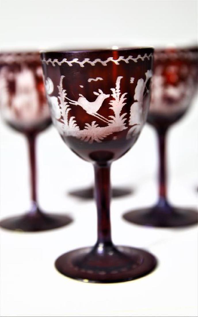(6) Bohemian/Czechoslovakian wine stems, tumbler - 3