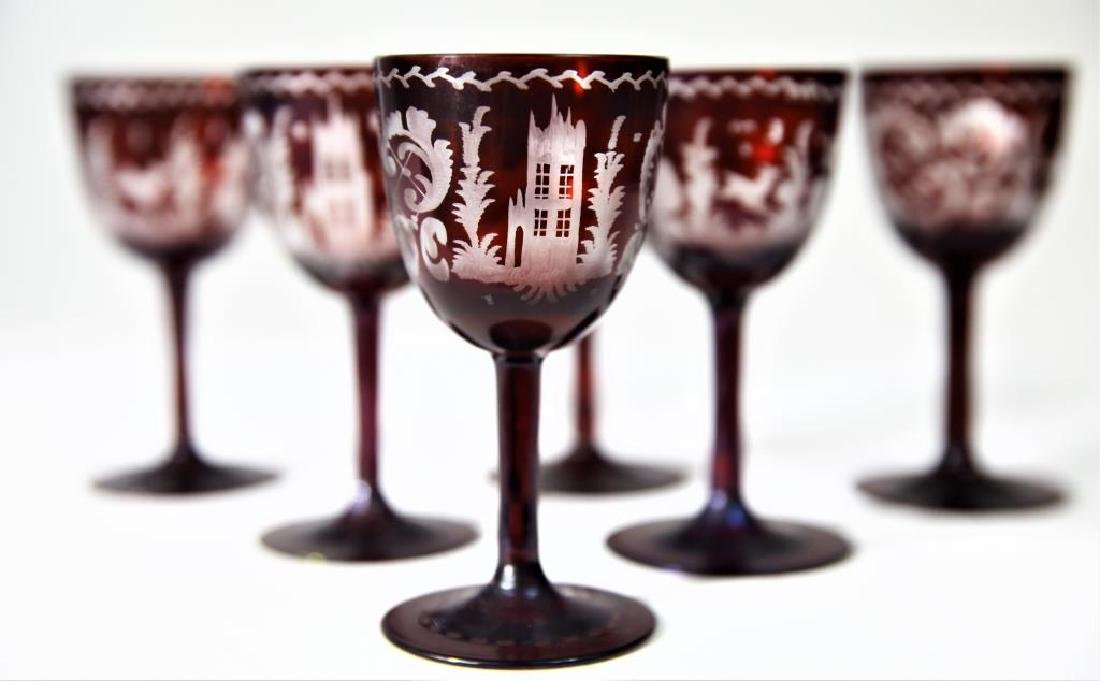 (6) Bohemian/Czechoslovakian wine stems, tumbler - 5