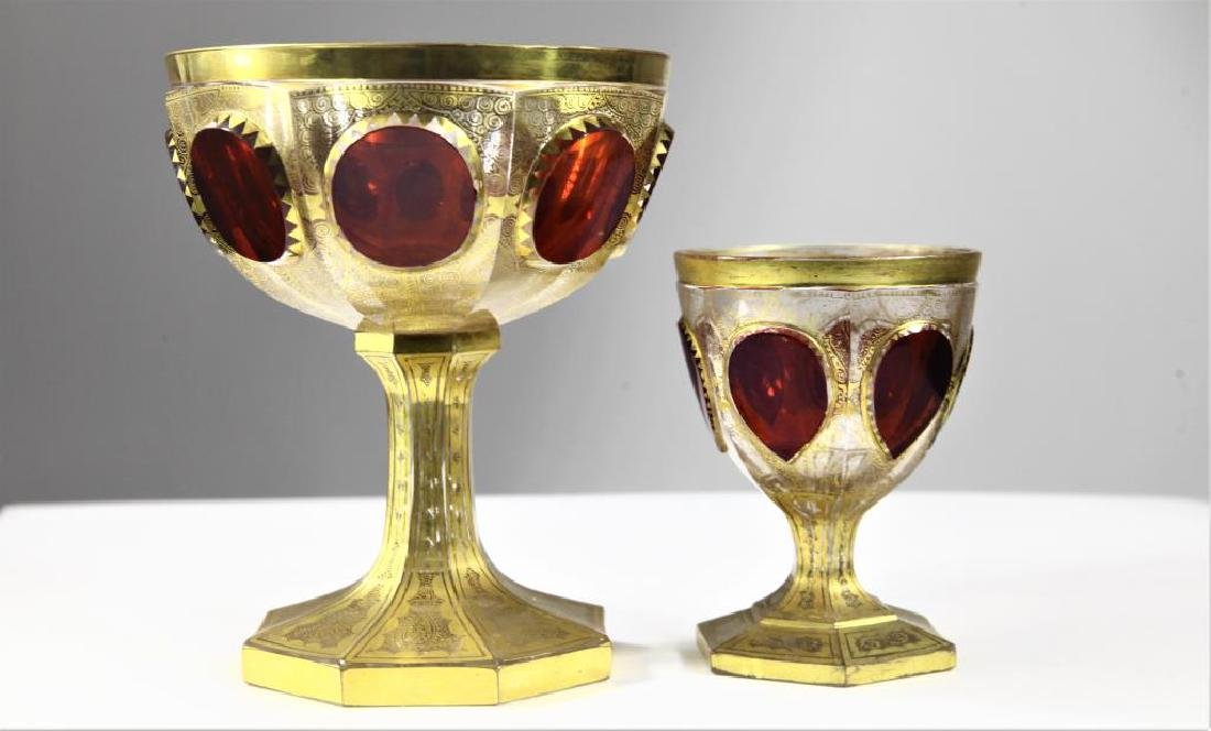 (1)  ruby wine goblet and one (1) ruby chalice