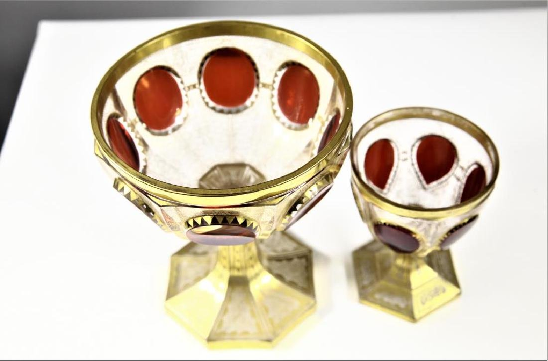 (1)  ruby wine goblet and one (1) ruby chalice - 2