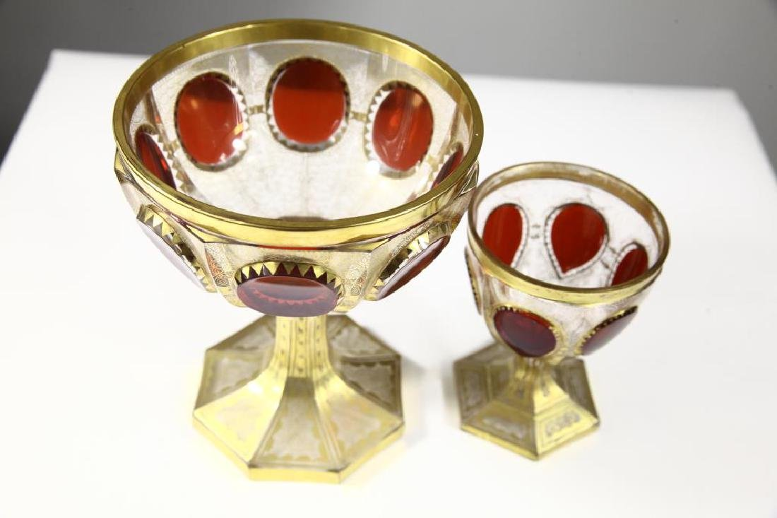 (1)  ruby wine goblet and one (1) ruby chalice - 3