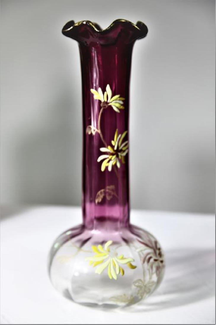 (1) Tall amethyst vase attributed to Mont Joye