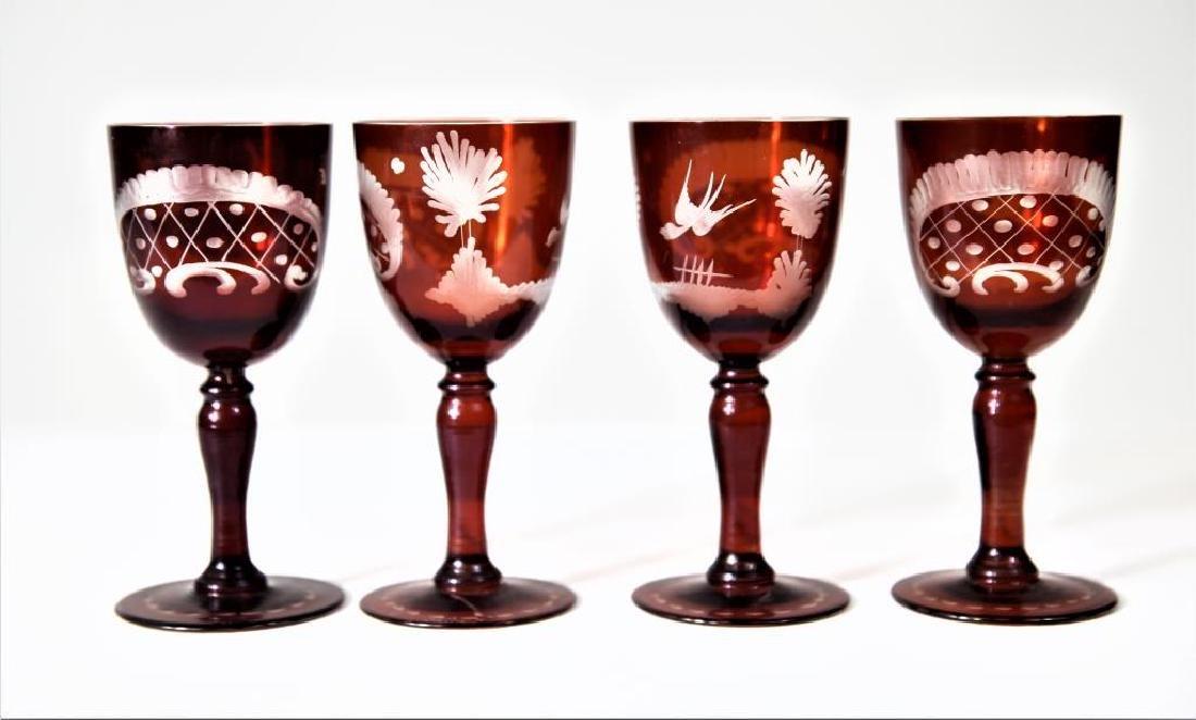 (4) Bohemian or Czechoslovakian wine stems