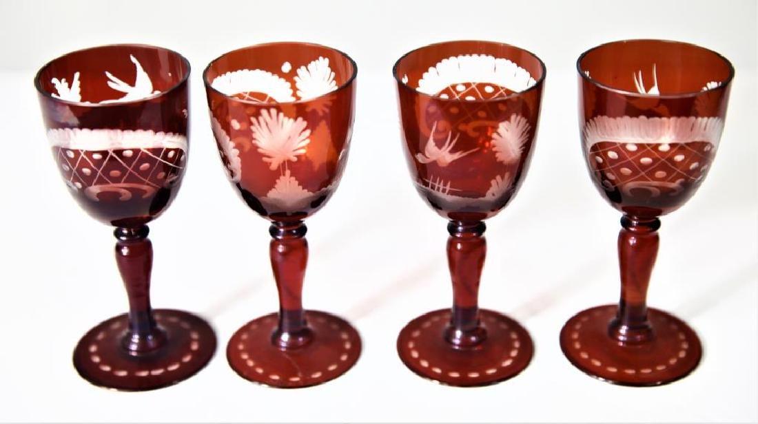 (4) Bohemian or Czechoslovakian wine stems - 3