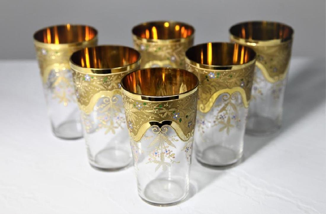 Six gilt-to-clear tumblers with gold gilding