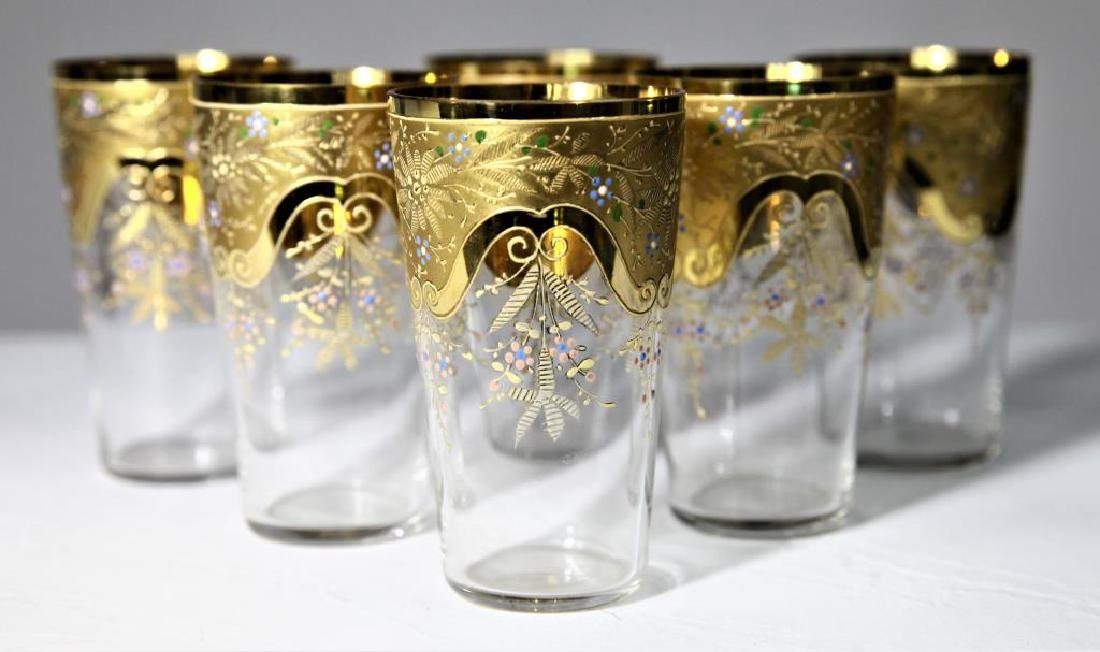 Six gilt-to-clear tumblers with gold gilding - 2