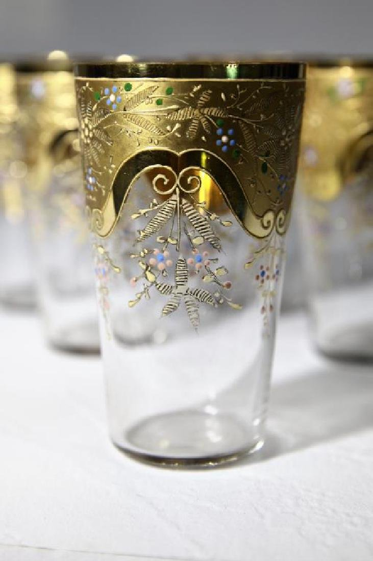 Six gilt-to-clear tumblers with gold gilding - 3